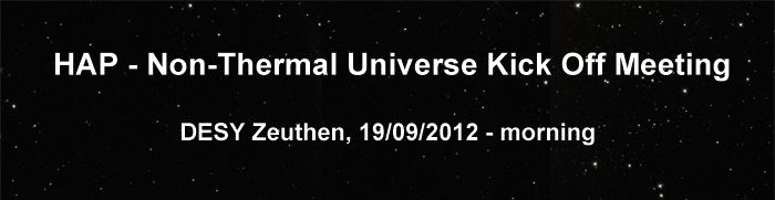 HAP - Non-Thermal Universe Kick Off Meeting